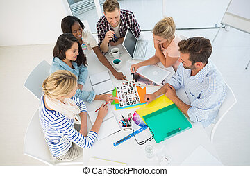 辦公室, 在上方, 年輕, 一起, 接触, 去, 設計, 單子, 隊, 創造性, 攝影