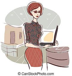 辦公室, 婦女, 描述商業