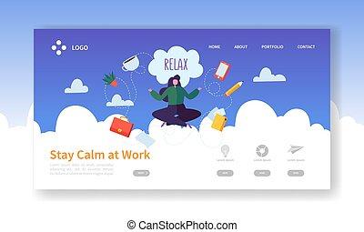 辦公室, 字, template., 网, 工作, 放松, customize., 考慮, website., 容易, 咖啡, 婦女 事務, 放鬆, 著陸, 毀坏, 插圖, 編輯, 工作, 或者, 矢量, 頁