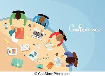 辦公室, 會議, 事務, 坐, 人們, 工作, 配合, 桌子