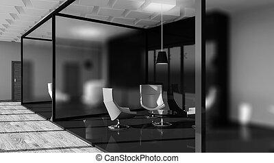 辦公室, 現代, rendering., 內部, highlands., 3d