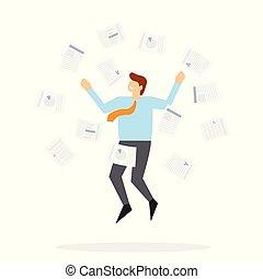 辦公室, 跳躍, 工人, 向上, 紙, 投擲