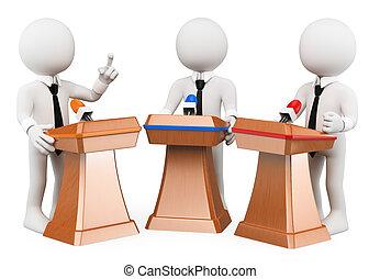 辩论, 人们。, 政治, 3d, 白色