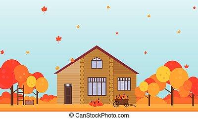 農場の家, 秋, ベクトル, 背景, 季節, イラスト