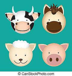 農場動物, 頭