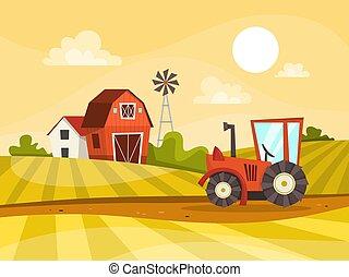 農場房子, 綠色, 拖拉机, 領域, 風景
