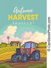 農場領域, tractor., 風景, 鄉村