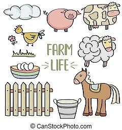 農場, いたずら書き, セット, 動物