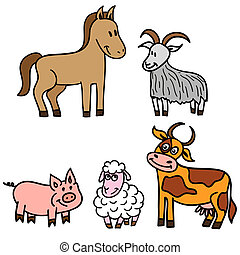 農場, かわいい, セット, 動物