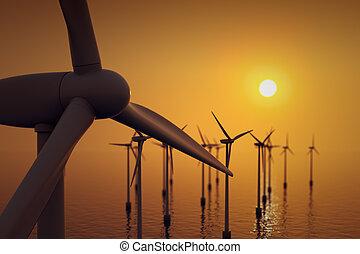 農場, の上, turbine., 終わり, 浮く, 風