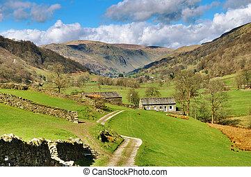 農場, イギリスのレーク地方, 絵のよう