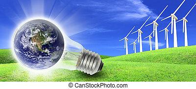 農場, エネルギー, タービン, 生産, 世界, 風