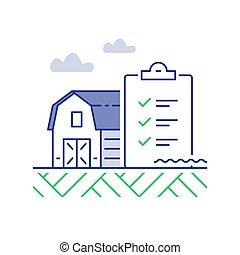 農場, チェックリスト, 改善, イラスト, 納屋, パフォーマンス, 線