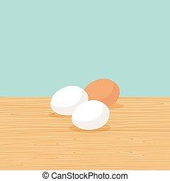 農場, テーブル, 卵, 自然