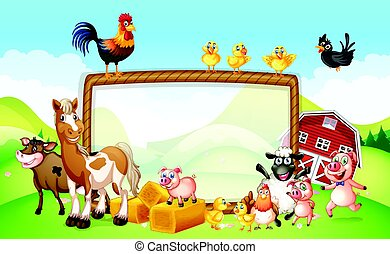 農場, デザイン, フレーム, 動物