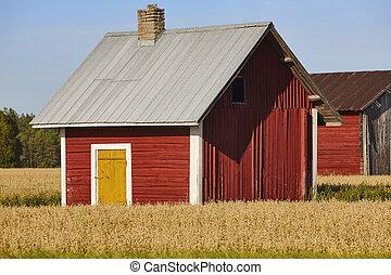 農場, フィンランド, 田舎, 伝統的である, 木製である, 赤