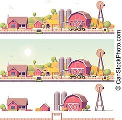 農場, ベクトル, 低い, poly