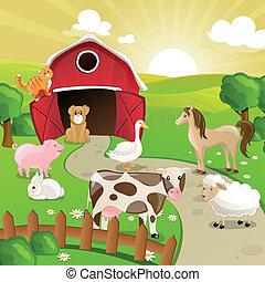 農場, ベクトル, 動物