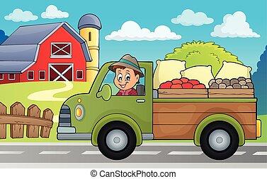 農場, 主題, トラック, イメージ, 3