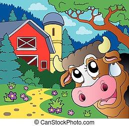 農場, 主題, 牛, 潜む