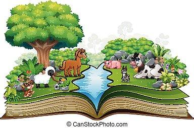 農場, 公園, 本, 動物, 開いた, 遊び