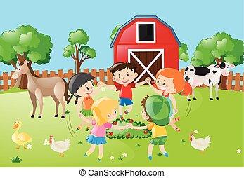 農場, 円, 子供たちが手を持つ