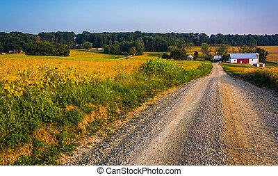 農場, 前方へ, a, 土の 道, 中に, 田園, ヨーク, 郡, pennsylvania.