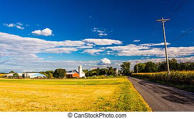 農場, 前方へ, a, 田舎の道路, 中に, 田園, ヨーク, 郡, pennsylvania.