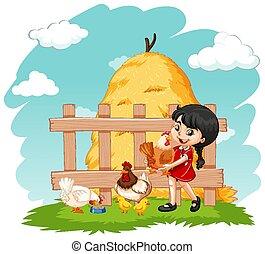 農場, 多数, 女の子, 鶏, かわいい