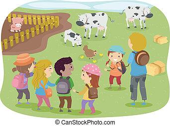 農場, 学校の 子供, stickman, 旅行