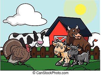 農場, 景色, 牛,