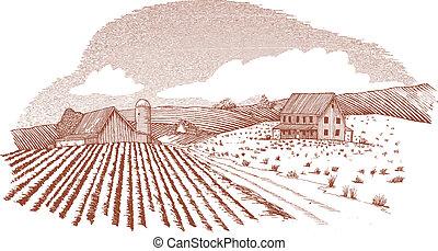 農場, 木刻, 風景
