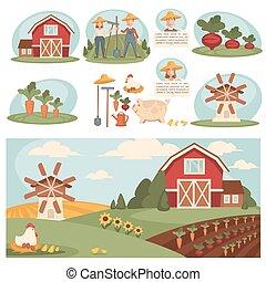 農場, 村莊, 風景, 建筑物。