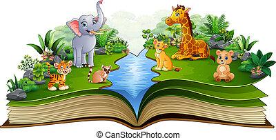 農場, 漫画, 本, 動物, 川, 開いた, 遊び