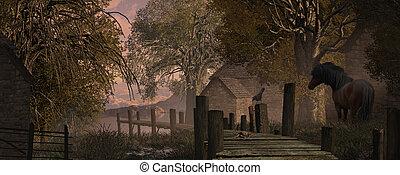 農場, 現場, そして, 古い, 桟橋