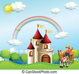 農場, 男の子, 城, 丘, の上