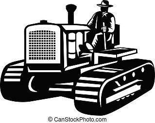 農場, 白, 黒, 型, 光景, 農夫, 運転, 側, レトロ, トラクター