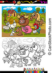 農場, 着色, 動物, 本, 漫画