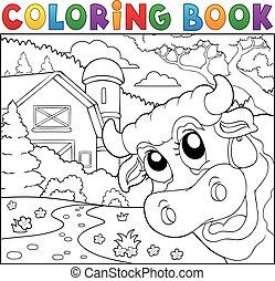 農場, 着色 本, 牛, 潜む