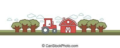 農場, 矢量, 務農, 農業, 風景, 穀倉