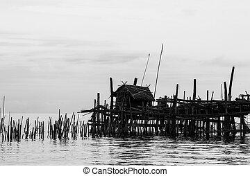 農場, 竹, 家, 作られた, 装置, タイ人, 湾, 釣り