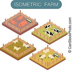 農場, 等大, セット, 動物