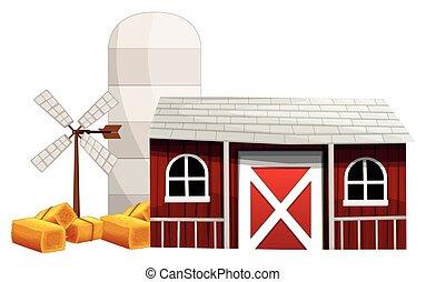 農場, 納屋, 現場, サイロ