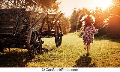 農場, 肖像画, 女の子