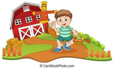 農場, 野菜, 収穫, hoy