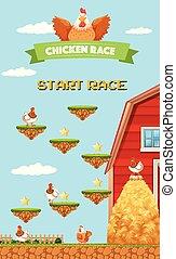 農場, 鶏, 競争, ゲーム, テンプレート