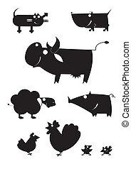 農場, 黑色半面畫像, 矢量, 藝術, 動物