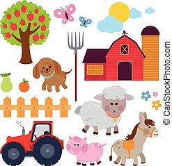 農場, collection., ベクトル, イラスト, animals.