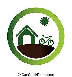 農場, eco, 紋章, 緑, 円
