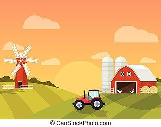 農場, hills., 製粉所, 緑, トラクター